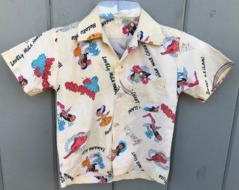Cool Vintage Boys Childrens Hula Dancer War Chant Cotton Hawaiian Shirt