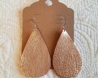 Genuine Leather Teardrop Earrings in Metallic Rose Gold