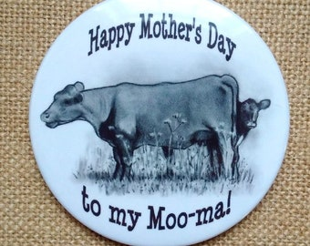 Big Fridge Magnet, Happy Mother's Day to my Moo-ma, Cow and Calf, Humor, From Original Pencil Art