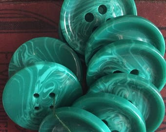 Large Green Vintage Buttons/9 Buttons/Sewing Project