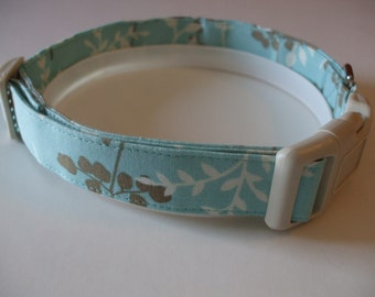 Handmade Cotton Dog Collar Aqua with Brown and Ivy Vines & Leaves