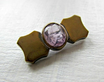 Antique Victorian Amethyst Brooch Pin- Natural Purple Amethyst Gemstone- Brass Bar Brooch- 1900s Edwardian Jewelry- Valentines Day Gift