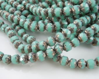 25 Czech Firepolished Glass Cathedral 4mm Turquoise Bronze
