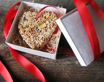 READY TO SHIP- Individually wrapped bird seed heart ornament- deluxe wrapping