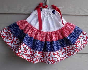 Child's Red White n Blue Tiered Pillowcase Dress - Sundress, Dress, Girls Dress, Toddler Pillowcase Dress, Handmade Dress,