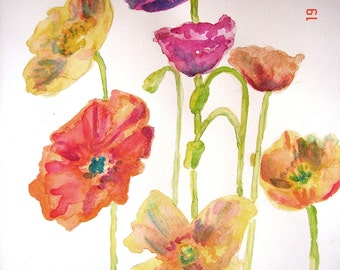 Poppy Watercolour Flower Painting, poppy 'Iceland Poppies' Original Watercolour Painting, Flower Painting floral art Australian, Orange