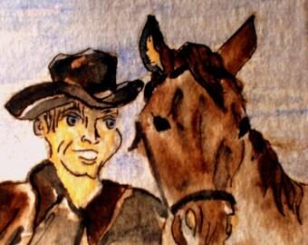 ACEO imprimer sur bristols lourd d'un cowboy et son cheval