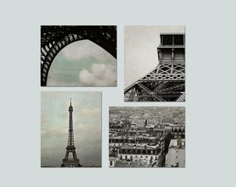 SALE, Eiffel Tower Print, Paris Photography, Beige, Black, Gray, Neutral, Paris Wall Art, 4 Photo Set