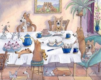 Welsh Corgi dog 8x10 art print - friends for tea