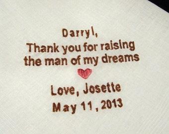 Personalized Father of the Groom Handkerchief, Man Of My Dreams Wedding Day Keepsake - Thread Born Memories