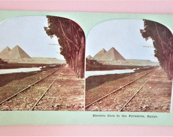 Antique Atlas Stereoview Card Electric Cars to the Pyramids Rare Atlas View Company Chicago Vintage Stereo Card Sepia Collectible Vintage