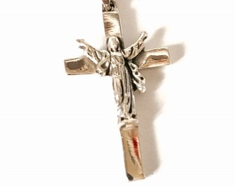 Jesus on a cross pendant/sterling silver/free sterling silver necklace