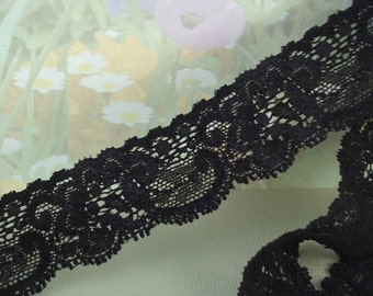 Black Elastic Lace Trim Ribbon Lace 1 1/4 inch DIY Headband lingerie Elastic Trim Bra Making sewing projects Lace by the yard