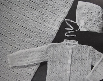 1950s 3 Vintage Baby Knitting PDF Patterns Blanket Sweater Hat 6110