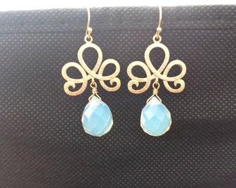 Opalite, Glass, Stone, Chandelier, Gold, Silver, Earrings, Modern, Chandelier, Drop, Dangle, Birthday, Wedding, Friends, Gift, Jewelry