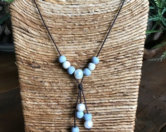 Beautiful Handmade  Leather Freshwater Pearl and Indonesian Glass Necklace