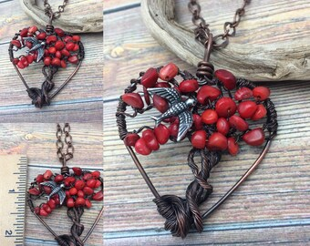 Red Sparrow, Coral Gemstone Tree of Life Copper Wire Wrapped Necklace