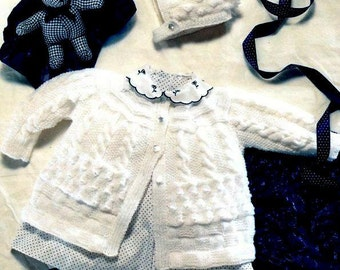 PDF Knitting Pattern for Baby Matinee Jacket & Bonnet To fit 14-20 inch chests Instant Download