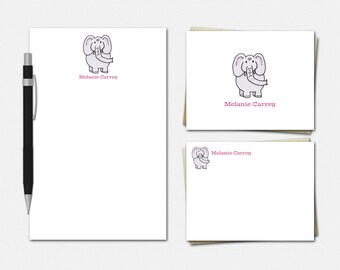 Elephant Stationery - Personalized Elephant Stationery Set - Personalised Stationary - Elephant Stationery for Kids