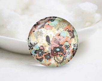 Handmade Round Floral Photo Glass Cabochons (P3511)