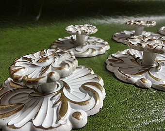Vintage Drawer Handles, Gorgeous Shaby Chic Drawer Pulls With Back Plates, White Cabinet Handles