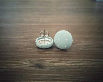 Aqua Earrings. White Polka Dots. Aqua and White. Handmade Earrings. Fabric Covered Button Earrings. Stud Earrings. Clip On Earrings.
