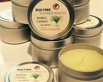 Citronella Candle - 4 oz tin - Bug Free Summer Nights - Spring Summer Candles - Outdoor Candles - Scented Candle Tin - Mosquito
