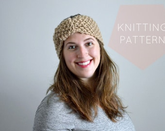Instant Download Knitting Pattern - Womens Earwarmer Pattern  Knit Earwarmer Pattern - Knit Headwrap Pattern - Knit Turban Womens Accessorie