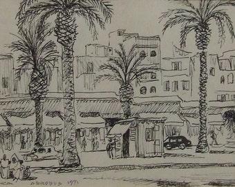 Sydney Arrobus original pen ink sketch Casablanca Morocco North Africa gift listed English artist small art gift