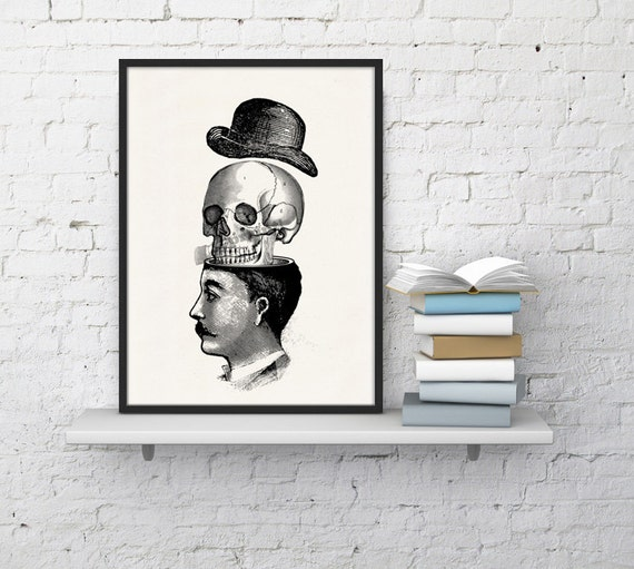Victorian man and skull with hat collage print - You blow my head off - Wall art collage  print poster SKA013WA4