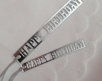 Happy Birthday Silver Mirror Gift Tag