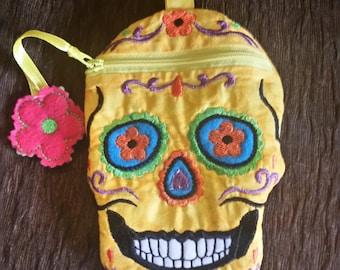 Yellow Sugar Skull zipper bag