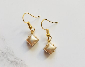 Soft gold square drop earrings- vintage glass