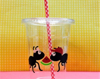 "16oz  disposable ""Picnic Party"" cups with cute paper straw!"