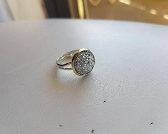 small Adjustable ring glitter silver