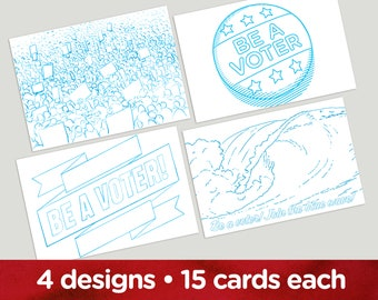 Coloring Book postcards. Four different images for getting out the vote and writing your reps. Set of 60.