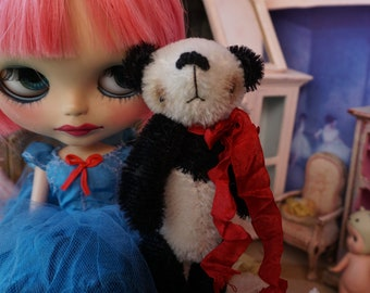 "OOAK Artist Panda Bear - TOMMY - 4.5"" Tall Mohair Collectible Teddy Bear"
