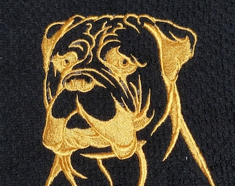 Embroidered Bull Mastiff Kitchen towel (Gold on Black)