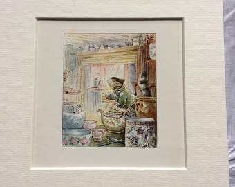 Vintage mounted original colour page from Beatrix potter The Tailor of Gloucester Mouse 6x6 mounted picture