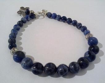 Sodalite bracelet, natural gemstones, jewelry bracelet, sodalite blue beads