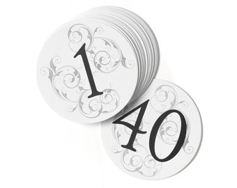 Wedding Reception Round Filigree Table Numbers / White Cards With Grey Filigree Background And Table Numbers In Black 1 To 40