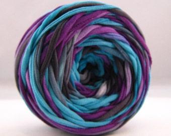 T-Shirt Yarn, Hand Dyed Yarn, Purple, Black, Aqua, 60 Yards, Tshirt Yarn, T shirt Yarn,  Cotton Yarn , Chunky Yarn - Upcycled Yarn