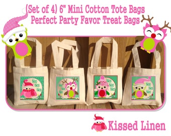 Pink Christmas Owls Treat Favor Bags Mini Cotton Totes Children Kids Guests Christmas Favor Treat Gift Bags - Set of 4
