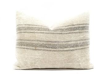 "Grainsack pillow cover, 14""×20"" vintage grainsack gray stripe pillow cover, farmhouse pillow, linen pillow"
