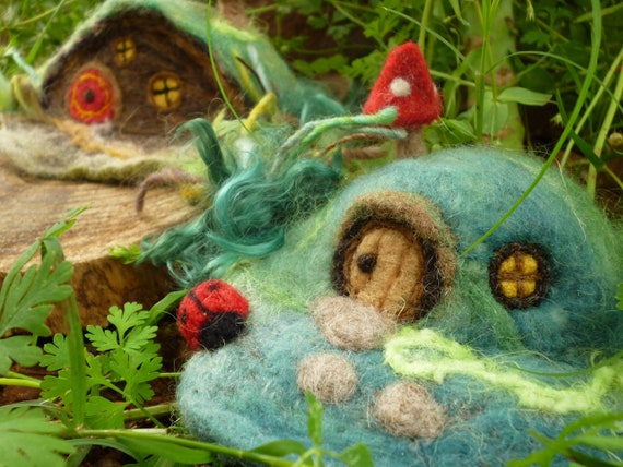 Needle Felted Gnome Home Fairy Garden Gift