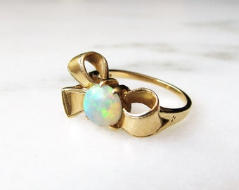 14K Yellow Gold Opal Bow Ring