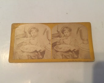 Antique Stereoview Kilburn Bros Boy eating hot soup No.229 too hot