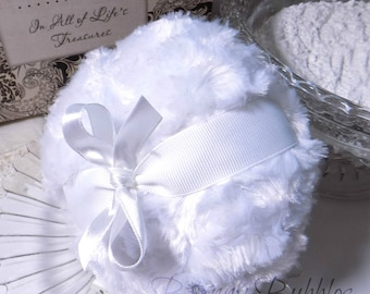 WHITE Powder Puff - pouf blanc - soft body pouf - gift box option - handmade by BonnyBubbles