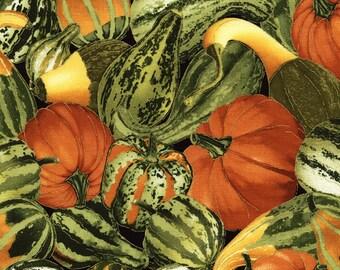 Pumpkin & Gourds Fabric, Timeless Treasures Golden Harvest CM3218 Gourd, Metallic Thanksgiving Fabric, Pumpkins, Squash, Cotton Quilt Fabric