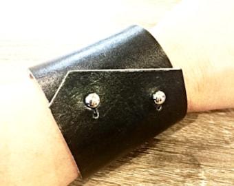 Leather Cuff, Leather Bracelet, Bracelet, Cuff Bracelet, Statement Jewelry, Black Leather Bracelet, Handmade Bracelet, Stylish Cuff